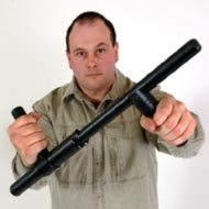 TSB45 Tactical Safety Baton in the hand's of its creator, Tank Todd.