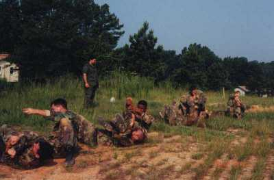 Conducting ground fighting drills with US Army Special Forces 1998