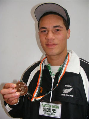 Joseph Parker with silver medal from C/W Champs in Delhi India last week