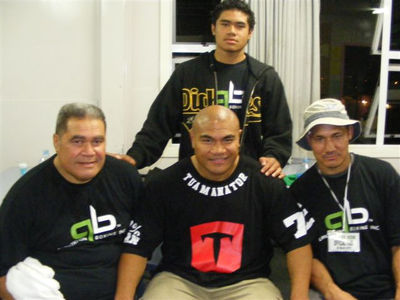 Alex Sua - David T. - Maselino Masoe at rear Alex Sua's son.